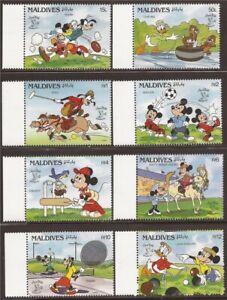 Maldives - 1990 Disney British Sports - 8 Stamp Set - 13e-473