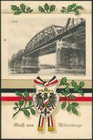 """1915 Deutsche Feldpostkarte Gruß aus Wittenberge """"Brücke"""" I/II"""