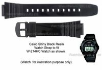 Genuine CASIO Watch Strap Band for W-214HC, W-214 10409322 - Glossy Black Resin