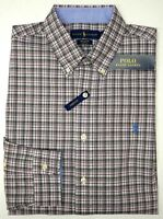 NWT $89 Polo Ralph Lauren Long Sleeve Shirt Mens Gray Pink Plaid Cotton Stretch