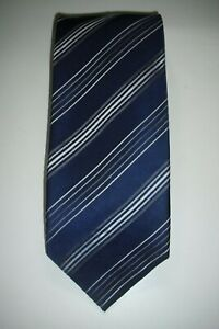 Ted BAKER 'KNOTTED' Blue / Silver / White Striped 100% Silk Tie