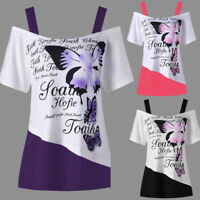 Women Butterfly Print Sexy Off Shoulder Shirt Short Sleeve Casual Tops Blouse UK