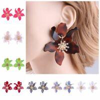 vintage l'acrylique fleur étalon les pétales des boucles d'oreilles des bijoux