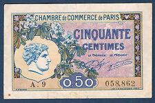 FRANCE - PARIS 50 centimes Pirot n° 31 du 10 mars 1920 en TTB A.9 058,862