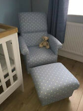 Clarke Dotty Smoke Grey Fabric Chair & Footstool Polka Dot Spotty Nursery Spots