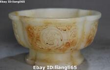 Natürliche alte Jade alte Blumen-Drache-Nest Bowl-Schalen-Topf-Flaschen-Statue