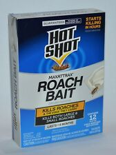 New Hot Shot Maxattrax Roach Bait 12 Stations Large Small Eggs Child Resistant
