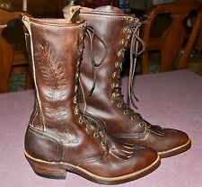 VINTAGE-ABILENE-USA-LEATHER-PACKER-WESTERN-BOOTS-Lace-Up-Kiltie-Womens  6.5M