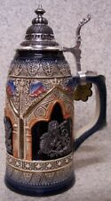 Beer Stein with lid Stoneware Scepter & Lion 0.5 Liter NEW Made Germany boxed B