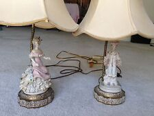 Two (2) Vintage Victorian Colonial Style Porcelain Lace Table Lamps Brass Bottom