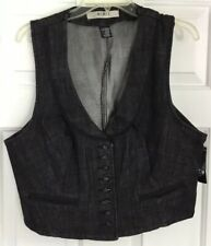 MIXIT Button Down Round Lapels Denim Vest Black Cotton Women's  Size XL New!