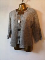 M & S Per Una 14 grey big button 3/4 sleeve vintage 90s design cardigan