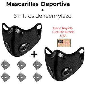 2 Mascarillas Deportivas Tapabocas antipolucion con filtros de aire 2 valvulas