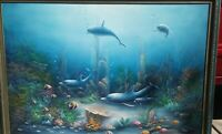 C. BENOLT Signed Underwater Raised Dolphin Oil Canvas Painting * See Description