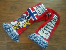 Rare Norway Viking Norge Vikinger 2 Sided Script Spellout Multicolor Knit Scarf