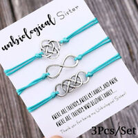 3Pcs/Set Charm Friendship Bracelets Unbiological Sister Best Friend Bracelet