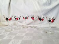 Libbey Singing Couples MCM Cordial Cocktail Stems Bar Glasses Red Black Set of 6