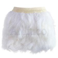 Womens Ostrich Feather Sexy Short Skirt Luxury Clubwear Elastic Waist Mini Skirt