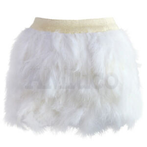 Women Ostrich Feather Mini Skirt Wedding Party Dance Clubwear Fluffy Short Skirt
