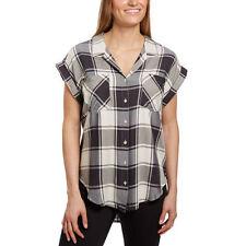 NEW Jachs Girlfriend Women's Cap Sleeve Button-Front Blouse Shirt Ivory Plaid M