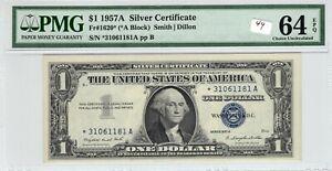 1957 1957A $1 Silver Certificate Star Note PMG UNC 64 EPQ FR# 1620* *A Block *
