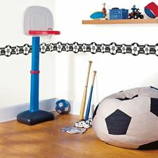Football Soccer Sport Wallpaper Border Self-Adhesive White Black Kids fun4walls