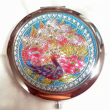 Multi Coloured Bird Design Make-up Mirror Compact 70 mm Chrome New Free Delivery