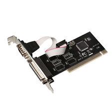 RS-232 Serial Port COM & DB25 Printer Parallel Port LPT to PCI Adapter Converter