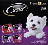 Cesar Gourmet Wet Dog Food Beef, Filet Mignon, Chicken, Variety Packs – 24 Trays