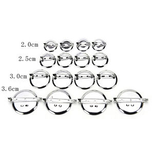 10pcs Silver Plated Back Brooch Pin Findings DIY Supply Safety Base Cameos-xd