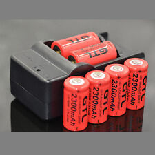 6x 16340 2300mAh CR123A Rechargeable 3.7V Li-ion Battery + Charger For LED Torch