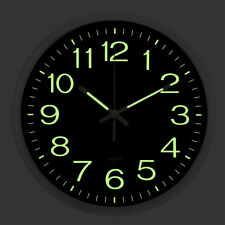 Classic Non-ticking Digital Wall Clock Large Number Night Light Glow In The Dark