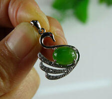 Cert'd Type A Green Emerald Hetian Nephrite Jade Oval Cabochon S925 Pendant Swan