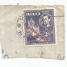 MALTA;1948 King George VI 3d.o/p SELF-GOVERNMENT; ON PIECE;P/M VALETTA , used s*