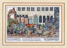 Wie die Metzger zu Nürnberg einen Stier zum Schlachthaus -Kolor. Kupfer um 1860