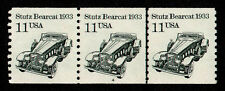 United States, Scott # 2131, Mnh Strip Of 3 Stamps Pnc # 4 Stutz Bearcat 1933