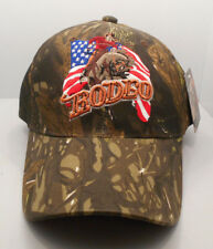 Rodeo Bronco Riding Camo  Ball Cap Hat New NWT H19