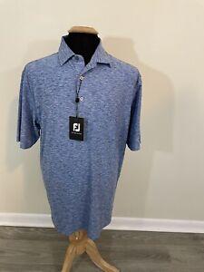 NWT FootJoy FJ Mens sz Large Blue Print Golf Polo Shirt OSG