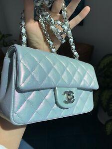 21K CHANEL  Classic Mini Flap Bag Iridescent Blue Calfskin Rectangular 2021 NWT