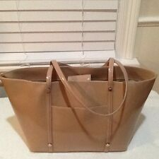 EUC Letizia Nude Leather Tote Handbag