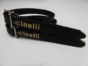 Vintage NOS  Alfredo Binda Cinelli Black Leather Toe Straps 4 Your Steel Ride B