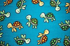 """GOLD & GREEN BABY TURTLES SWIMMING ON TURQUOISE FLANNEL MATERIAL 2 YDS 42 X 72"""""""