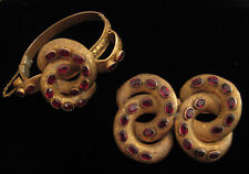 Victorian etruscan gold-plated garnet bracelet & brooch