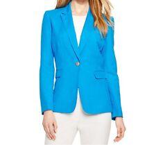 1117-2 Tahari By ASL Women's Blue Petite Linen-blend One-button Jacket,14P $129