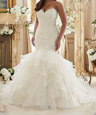 New Mermaid White/ivory Wedding dress Bridal Gown custom size 4-6-8-10-12-14-16+