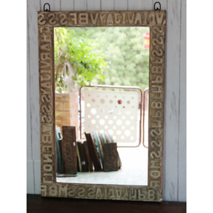 Wooden Mirror Frame made from old used Bricks Alphabet decorative Rustic mirror