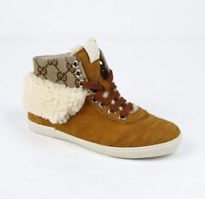 Gucci Kid's Brown Suede Hi Top Sneaker w/Gg Canvas and Fur Trim 30 285246 9064