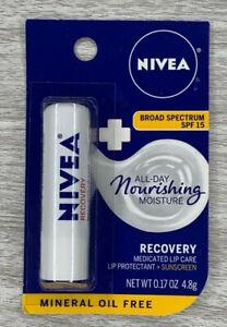 Nivea Recovery Medicated Lip Balm SPF 15 .17 ounce expires 7/2022