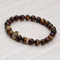 Gold Crown lion Fashion 8MM Buddha Beads Natural Lava Charm Men's Bracelets