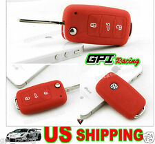 red VW Key Silicone Case Cover Volkswagen GOLF BORA PASSAT BEETLE Jetta
